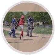 Ouch Baseball Foul Ball Digital Art Round Beach Towel