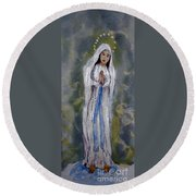 Our Lady Of Lourdes 2 Round Beach Towel