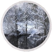 Our Pond In The Snow Round Beach Towel