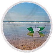 Out For A Stroll Round Beach Towel by Betsy Knapp