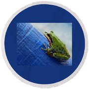 Out From Under The Blue Tarp Round Beach Towel