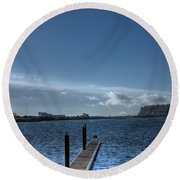 Out Into The Bay Round Beach Towel