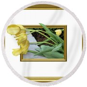 Out Of Frame Yellow Tulips Round Beach Towel