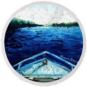 Out On The Boat Round Beach Towel