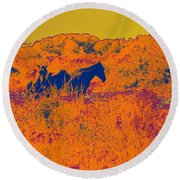 Outer Banks Horses Round Beach Towel
