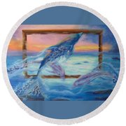 Outside The Frame Round Beach Towel
