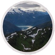 Over Alaska Round Beach Towel