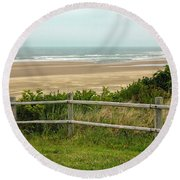 Over The Fence Ocean View Round Beach Towel