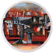 Over The Roofs Round Beach Towel