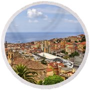 Over The Roofs Of Sanremo Round Beach Towel by Joana Kruse