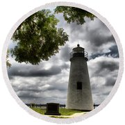 Overcast Clouds At Turkey Point Lighthouse Round Beach Towel