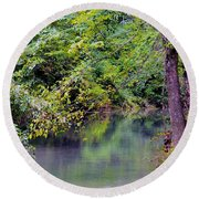 Overcast Reflections At Buck Creek Round Beach Towel