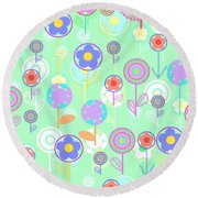 Overlayer Flowers  Round Beach Towel