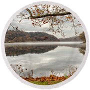 Overlooking The River Round Beach Towel