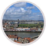 Overlooking Whitby Round Beach Towel