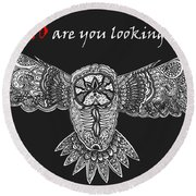 Owl In Flight Round Beach Towel