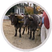 Oxen And Handler Round Beach Towel