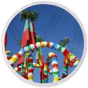 Oxen Cart Decorations Round Beach Towel