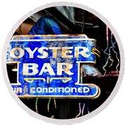 Oyster Bar Sign Round Beach Towel