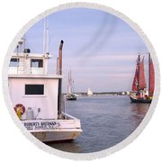 Oyster Boat On The River  Round Beach Towel