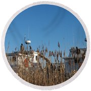 Oyster Boats In Dry Dock  Round Beach Towel