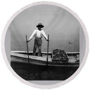 Oyster Fishing On The Chesapeake Bay - Maryland - C 1905 Round Beach Towel