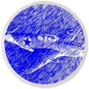P 51 Mustang Flying In The Rain Round Beach Towel