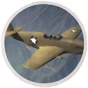 P 51 Mustang On A Mission Round Beach Towel