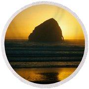 Pacific City Sunset Round Beach Towel