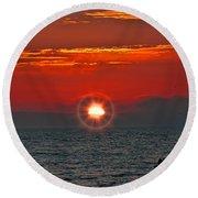 Pacific Sunset Round Beach Towel