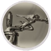 Packard Angel Hood Ornament In Sepia Round Beach Towel