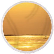 Paddle Boarder At Dawn Round Beach Towel