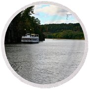 Paddle Boat Round Beach Towel