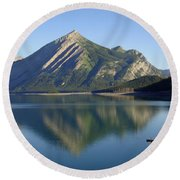Sunrise Paddle In Peace - Kananaskis, Alberta Round Beach Towel