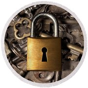 Padlock Over Keys Round Beach Towel by Carlos Caetano