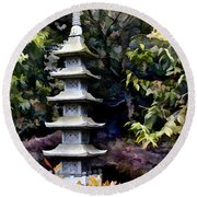 Pagoda Tower Of Zen Round Beach Towel