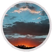 Pagosa Springs Colorado Sunset Round Beach Towel