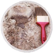 Paint Brush Next To Camarasaurus Round Beach Towel