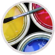 Paint Cans Round Beach Towel