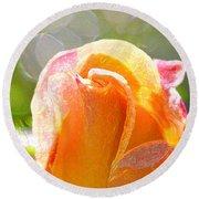 Paint Daub Yellow Rose Round Beach Towel
