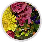 Painted Bouquet Round Beach Towel