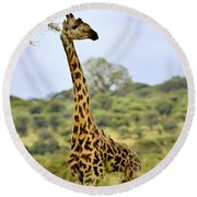 Painted Giraffe Round Beach Towel