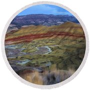 Painted Hills At Dusk Round Beach Towel