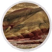 Painted Hills Grooves Round Beach Towel