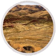 Painted Hills Landscape Round Beach Towel