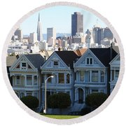 Painted Ladies Round Beach Towel by Linda Woods