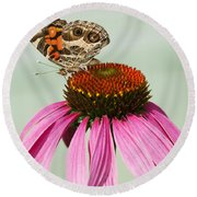 Painted Lady Butterfly Round Beach Towel
