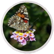 Painted Lady Round Beach Towel