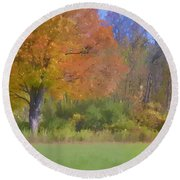 Painted Leaves Of Autumn Round Beach Towel