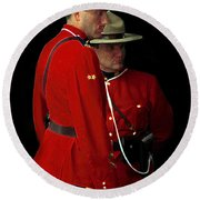 Painted Mounties Round Beach Towel